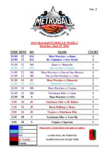 16th Annual Metroball NY Ave Schedule Week-2