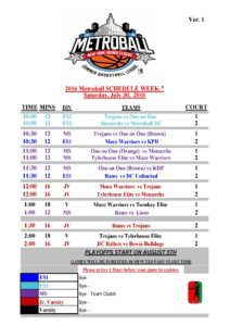 16th Annual Metroball NY Ave Schedule Week-6