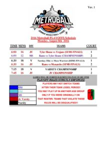 16th Annual Metroball NY Ave PLAYOFFS Schedule2